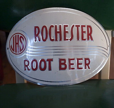 Vintage 1950s Rochester Root Beer Embossed Aluminum Sign