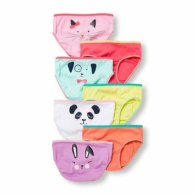 New The Children's Place 7 Pack Underwear Girls NWT 4 7 10 12 Happy Animal Faces
