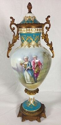 Antique French Sevres Turquoise And Gilt Ormolu Porcelain Urn Signed
