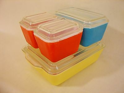 1949 Spaced Rib Lid 8pc PYREX PRIMARY Refrigerator Oven Storage Set 501 502 503