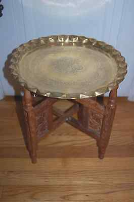 "Antique Moroccan Middle East Brass 32"" Tray Coffee Table Carved Wood Base"