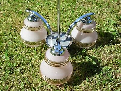 Antique Art Deco 3 Arm Chandelier Pendant Light Chrome Pink Glass Shade Bakelite