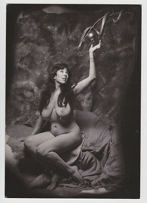 Postcard Nude Sexy Girl Topless Breast Snake Ornament B&W Vintage Post Card 5630