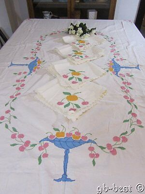 "Darling Madeira Cherries Fruit Applique BANQUET Tablecloth 98 x 66"" Napkins"