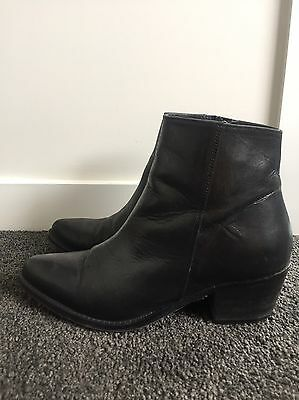 Black Leather Ankle Boots Size 38