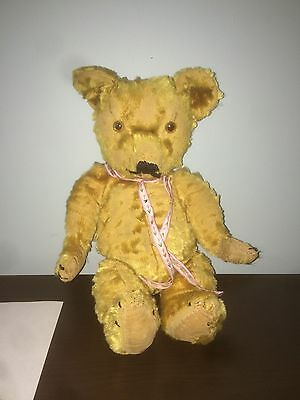 Antique Teddy Bear Gold Mohair 16in Fully Jointed