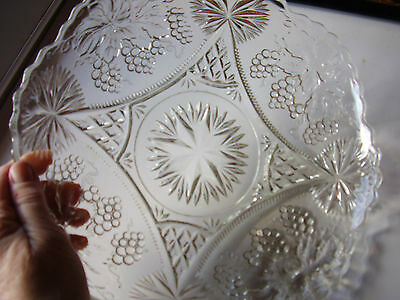 Large Pressed Cut Glass Fruit Bowl Nice Pattern Vintage 1940s or Earlier Sparkly