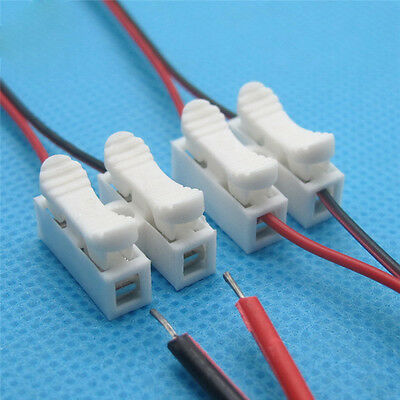 30x 2P Spring Wire Connector Cable Clamp Terminal Block For LED Strip Light Lamp
