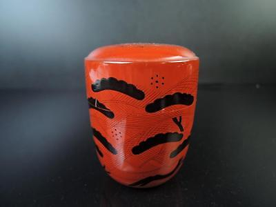 E3098: Japanese Wooden Lacquer ware TEA CADDY Chaire Container