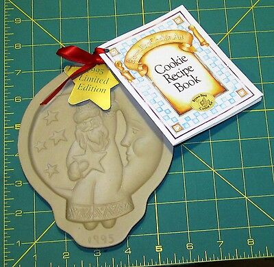 Brown Bag Cookie Art Mold:1995 Ltd. Edition SANTA-IN-THE-MOON w Recipe Book