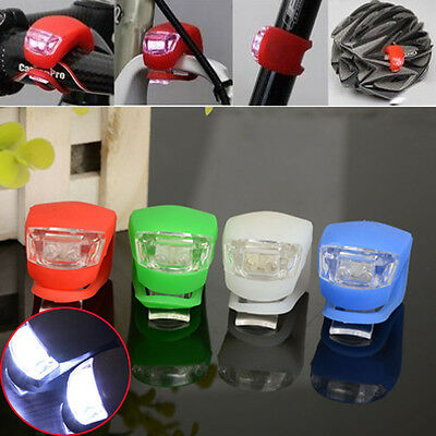 Led Silicone Bike Bicycle Cycle Front/rear Camping Backpack Safety Light Set.