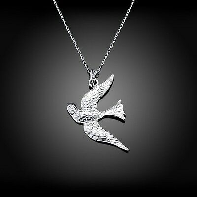 Fashion 925Sterling Solid Silver Jewelry Bird Pendants Necklace For Women N151