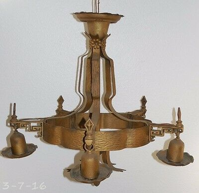 Large Antique Art Deco Gothic Ornate 5 Light Chandelier