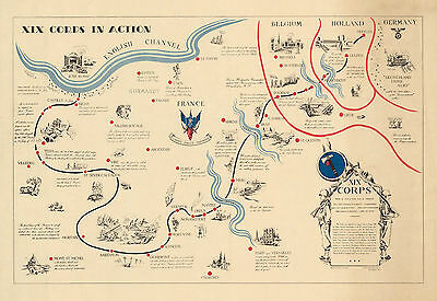 1944 Pictorial World War II WWII Map XIX 19th Corps i Action Military War Poster