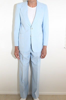 MENS ORIGINAL c1980 TEXAN SUIT.  VINTAGE CLOTHING  POWDER BLUE. #9