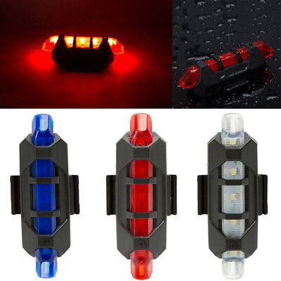 1X USB Rechargeable 5 LED Bike Bicycle Cycling Tail Light Rear Seat Warning Lamp