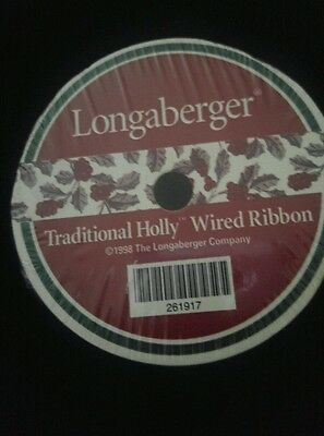 Longaberger Traditional Holly Wired Ribbon NIP