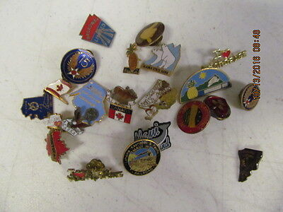 Large Lot of Vintage Buttons & Pins Canada,Alaska,Hawaii  and more