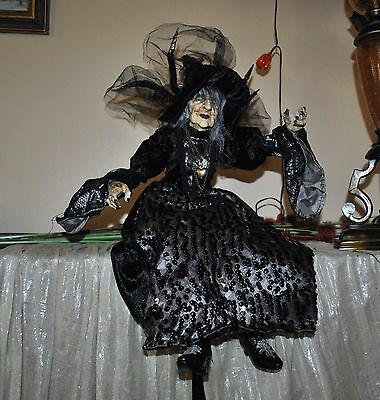 N BELLA LUX BLACK/SILVER WITCH doll Halloween KIMONO DRESS SPIDER LEGS SITTING