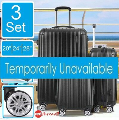 Luggage Suitcase 3pc Trolley 4 Wheel Set TSA Travel Carry On Bag Hard Case Black
