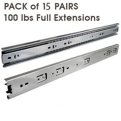 "15 Pairs Full Extension 100-lb Ball Bearing Drawer Slides 10""-24"""