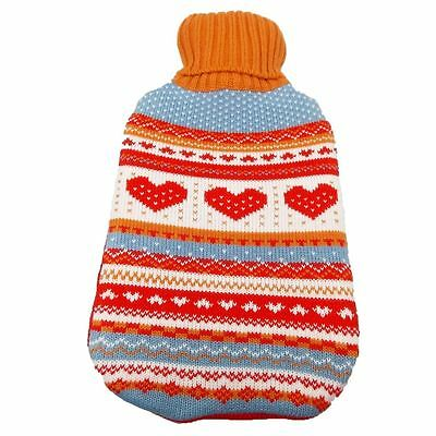2L Red Love Hot Water Bottle With Knitted Cover Winter Warmer Thermotherapy XMAS