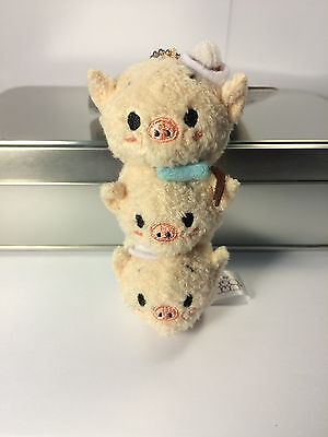 Disney Store Japan Authentic Tsum Tsum Three Little Pigs Keychain - New w/ Tags
