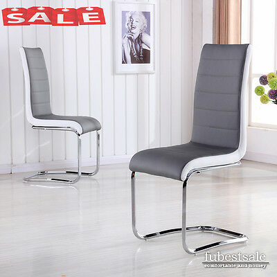 Modern 2 4 6 High Back Dining Office Chairs Leather Chrome Legs Grey White Side