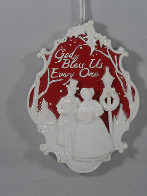Red and White Cameo God Bless Us Every One Carolers Christmas Tree Ornament new