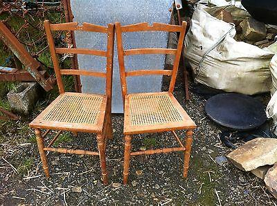 Pretty good quality Antique Edwardian wooden bedroom chair with wicker seat