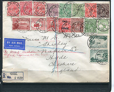 Australia 1931 Registered 2Nd Flight Cover To England With Remarkable Franking