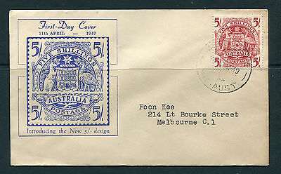 Australia 1949 5S  Red Arms On Illustrated First Day Cover Very Fine