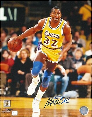 Magic Johnson Hand Signed Autographed 11x14 Photo Los Angeles Lakers Dribble GAI