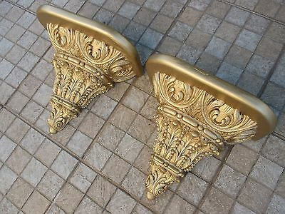 Antique Enormous Old Art Pair Corbel Wall Shelf Brackets Wood Carved Gilt Gilded