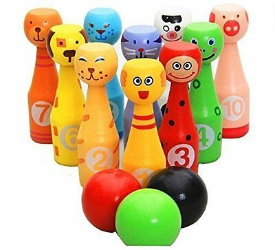Wooden Bowling Pin Set 10 Different Animals Pins and 3 Colors Ball  for Kids