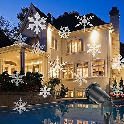 Snowflake Moving Sparkling Landscape LED Laser Projector Wall Party Light Xmas