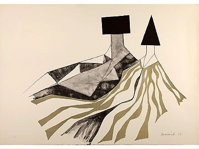 Signed Lynn Chadwick Limited Edition Print, Lithograph,1973, Reclining Figures