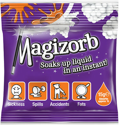Magizorb 15g (1L) absorbent granules for travel & pet sickness, wee, fats, oils.