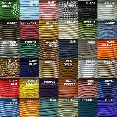 ROUND 2 Core Braided Fabric Cable Lighting Lamp Flex Vintage - Choice of Colours