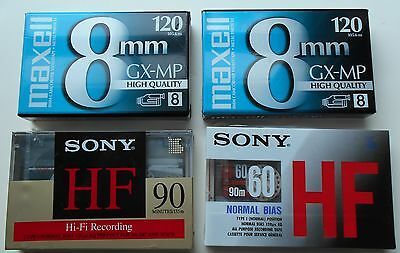 Camcorder Video Tapes 8MM High Quality Maxell 120 Sony 90 60 Lot 4 Sealed NOS