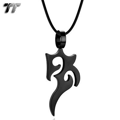 Quality TT Black Stainless Steel Pattern Pendant Necklace (NP325D) NEW