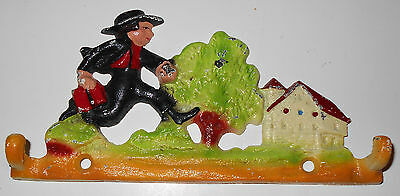 "Vintage Metal 2 Coat Hook Cast Iron School Boy Clothes Painted 6"" Shabby Chic"