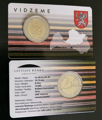 "2 € Latvia 2016 ""Region of Vidzeme"" in coin card"