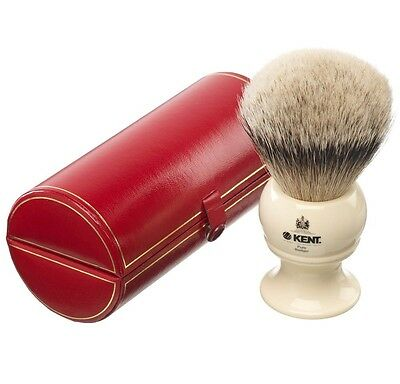 Kent BK12 Shaving Brush Pure Badger Silver Tip IVORY Handle EXTRA LARGE LUXURY