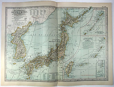Original 1902 Map of Japan & Korea by The Matthews Northrup Company