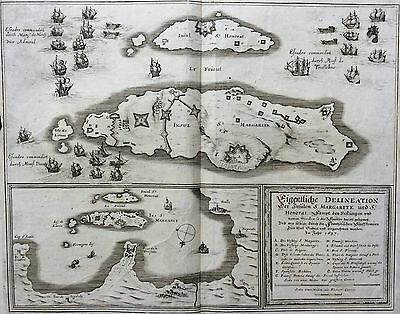 Rare 1680 Map of Cannes, St. Margarite and St. Honorat by Matthaus Merian