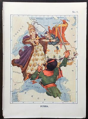 Very rare 1912 caricature map of Russia drawn by Lillian Tennant