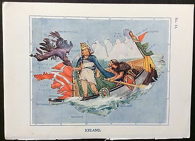 Very rare 1912 caricature map of Iceland drawn by Lillian Tennant