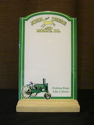 John Deere Moline, ILL. Porcelain Arched Plaque & Wood Stand
