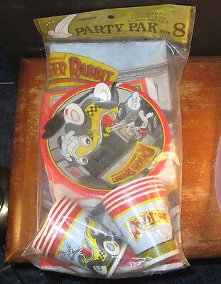 Who Framed Roger Rabbit Party Pak for 8 Vintage 1987 NEW SEALED Cups Tablecloth